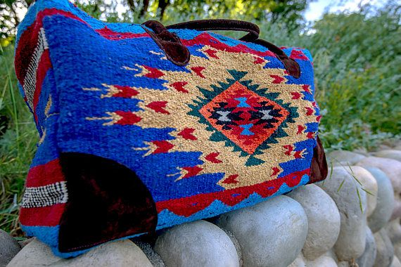 Carry On & Travel Bags: Handwoven Recycled Vintage Blanket Bag // Weekender Travel