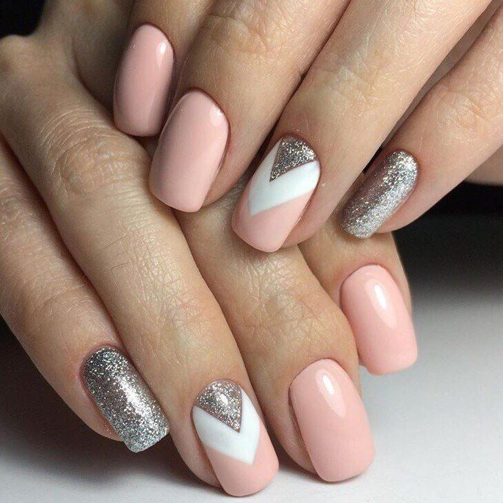 beautiful delicate nails beautiful nails gentle summer nails geometric nails glitter nails june nails pale pink nails pink nail polish with sparkles - Nail Polish Design Ideas