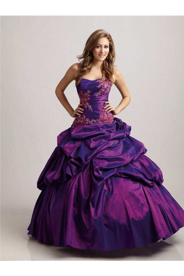 Ball Gown Strapless Purple Taffeta Applique Ruched Corset Prom Dress Pick Up Skirt