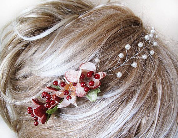 Pure silk cocoon flower and pearl Wedding Combs hair by ADbrdal, $32.00 #updo #twist #sophisticated