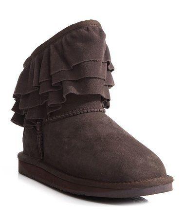 Another great find on #zulily! Beva Brown Ruffle-Trim Chapel Sheepskin Boot - Women #zulilyfinds