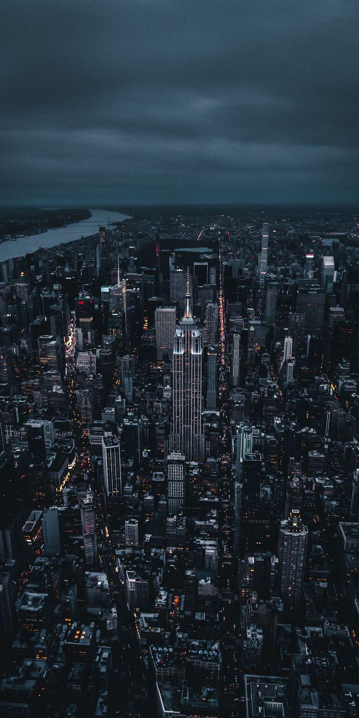 New york, dark, night, city, aerial view, 1080x2160