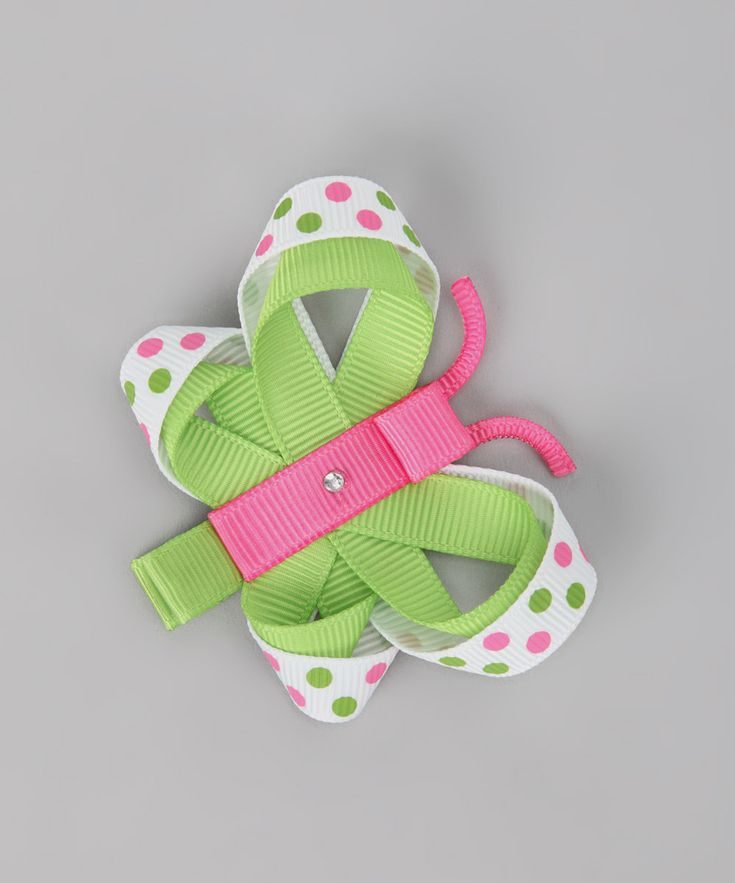 Pink & Green Butterfly Clip