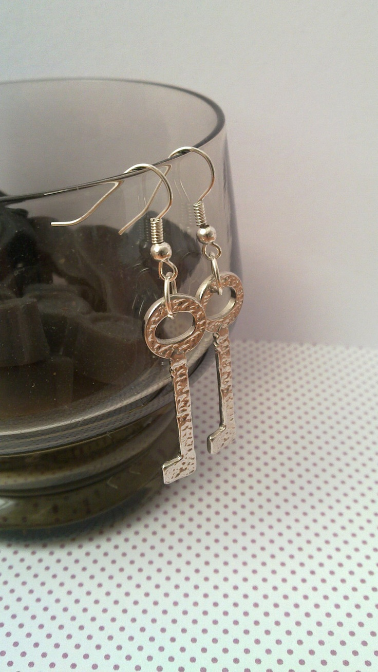 Recycled key earrings
