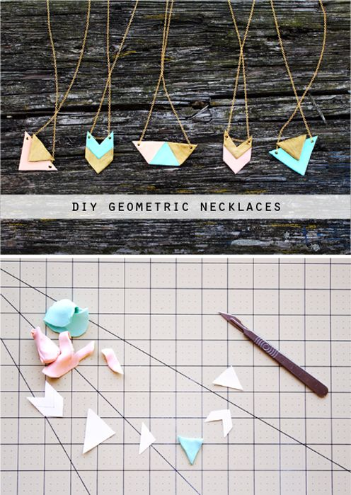 diy geometric necklaces just mold the clay in shape then poke two holes and bake…