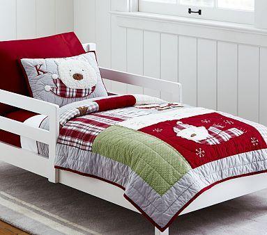 Dear Santa Toddler Quilted Bedding #pbkids