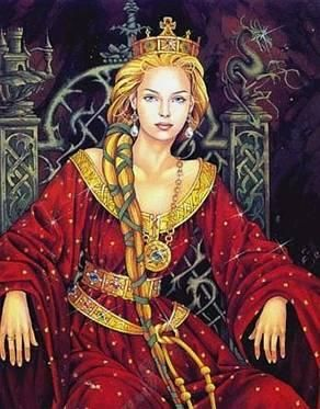 "Reine Guenièvre - Queen Guinevere:  The name come from the Welsh ""Gwenhywhar"" which means ""white ghost."" Guinevere is a magical character; as the wife of King Arthur, and a symbol of courtly love. She is also flawed; because she is a 'barren queen' and she loves Lancelot, not the King."