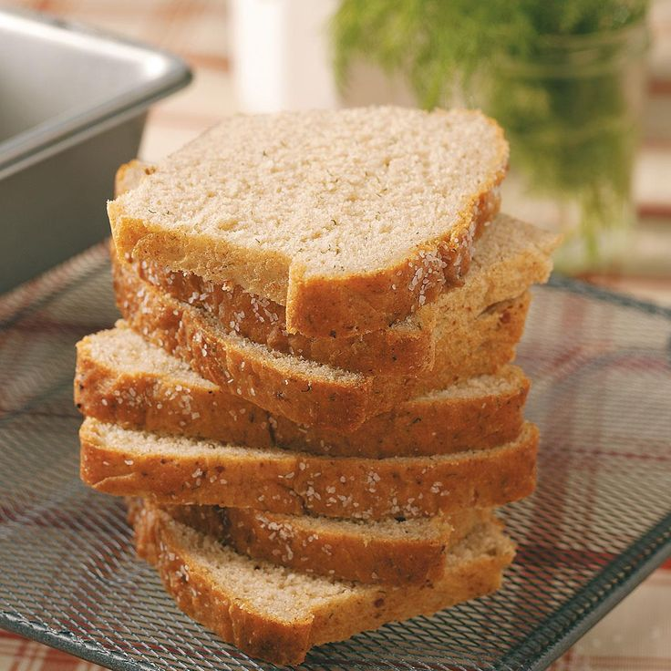 "Dill Wheat Bread Recipe -""My house smells terrific when this wonderful bread is in the oven. It makes a fantastic meal served with soup. Cut thick slices with an electric knife and eat them while they're still warm. Yum!""—Beverly Preston Fond du Lac, Wisconsin"