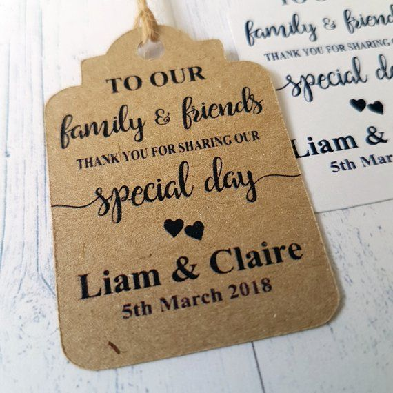 Personalised Wedding Favor Tags For Minatures To Our Family Etsy Wedding Favor Gift Tags Wedding Favor Tags Personalized Wedding Favor Tags