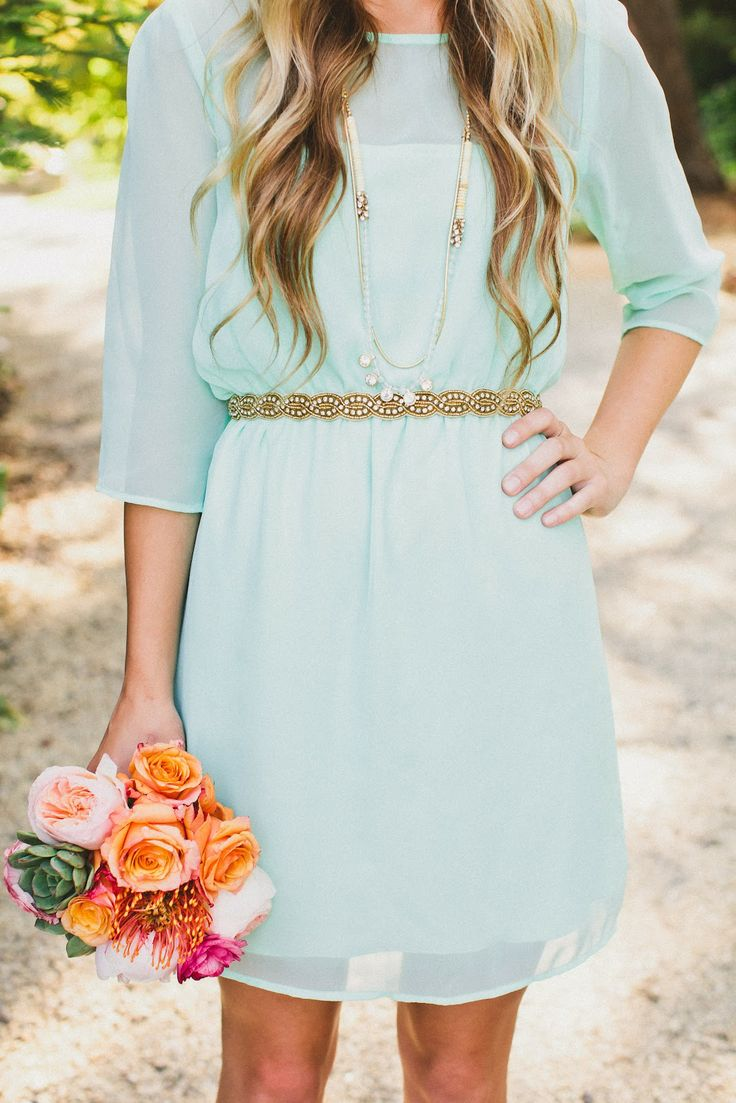 mint dress with gold belt -colors!