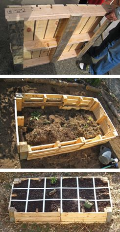 creating a raised bed garden from pallets  - cheap and repurposeful.