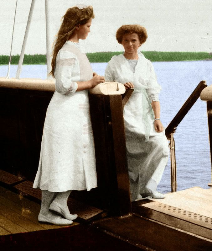 A beautifully colorized photo of Grand Duchesses Marie, left, and Olga, possibly aboard the Standart.