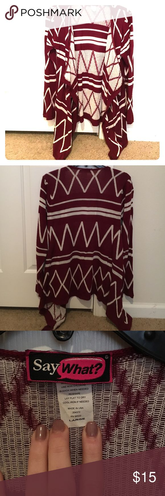 Maroon tribal print sweater cardigan Maroon tribal print cardigan featuring a high lox style. It's a large but I typically wear a medium. Say What? Jackets & Coats
