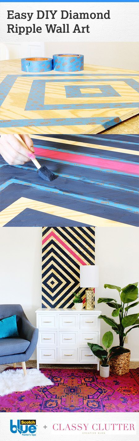 Make an impact with large pattern and colors. Create an easy DIY diamond ripple wall art piece. Paint one diamond in a different color from the rest for a bold accent look.