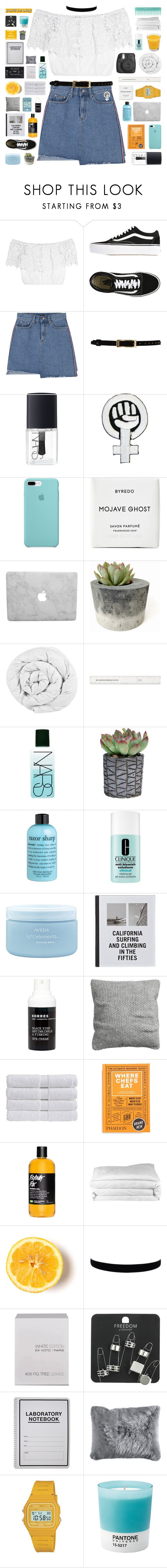 """""""i found me a better lover in the uk"""" by nothing-like-outerspace ❤ liked on Polyvore featuring Miguelina, Vans, Temperley London, NARS Cosmetics, Byredo, The Fine Bedding Company, Fujifilm, philosophy, Clinique and Aveda"""