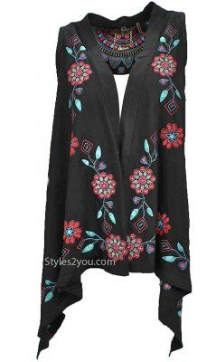 Bella Carra Clothing Heidi Embroidered Vest In Black