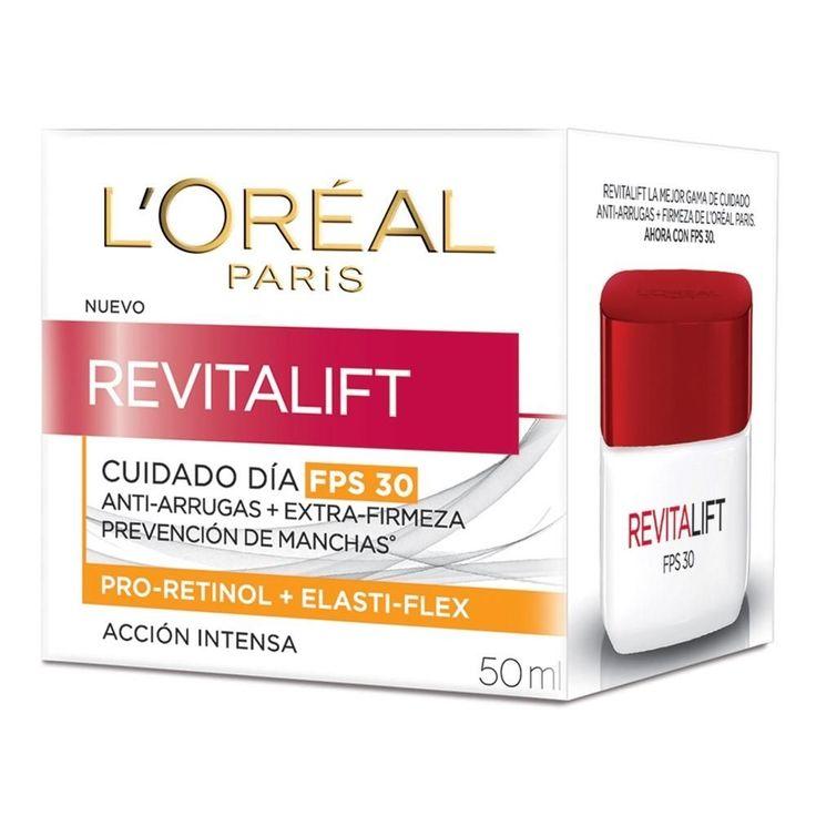 RECOMENDADA Crema Facial Anti - arrugas LOréal Revitalift día FPS 30^^El elasti-flex es un complejo que ayuda a multiplicar y reforzar la red de fibras de elastina para preservar su función de resorte. La red de soporte de la piel se vuelve más densa para una piel más firme y elástica. ^^Contiene pro-retinol para ayudar a reducir las arrugas. ^^Ahora con protector solar más alto para proteger eficazmente la piel de los rayos uva y uvb causantes del envejecimiento prematuro de la piel…