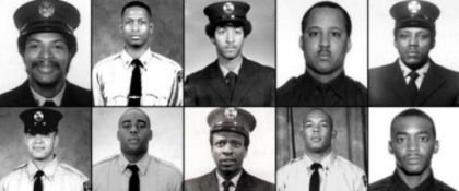 """A A firefighters (t from L to R:  Leon W. Smith Jr., Shawn E. Powell, Vernon Cherry, Andre Fletcher & Ronnie L Henderson; and b from L to R: Gerard Jean Baptiste, Keithroy Maynard, William L. Henry Jr., Karl Joseph  Coleman. (Keith Glascoe and Vernon Richard not shown), died at WTC saving lives. Craig Kelly, a frmr firefighter & grief counselor  worked with their families chronicling the aftermath of their deaths in  a doc, """"All Our Sons–Fallen Heroes of 9/11,"""" in '04. ."""