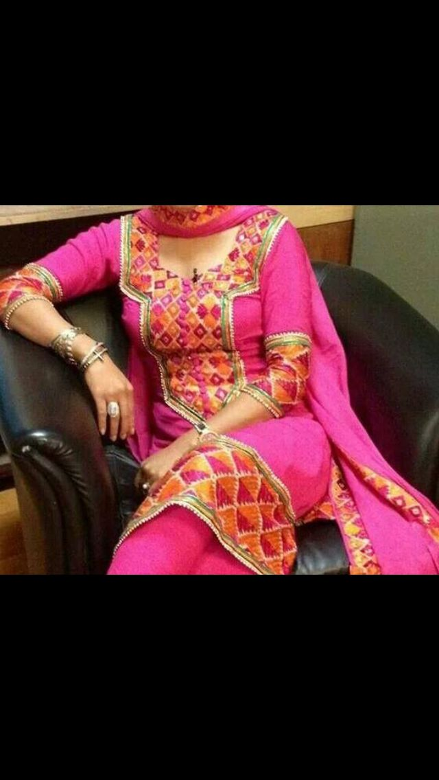 Pink phulkari.. Lovely suit indian traditional wear phulkari border
