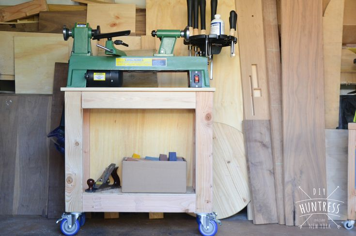 """This is a free PDF download with woodworking plans for my Mobile Lathe Stand. While payment is not required (as it is a free download) donations are welcomed and appreciated! This PDF download includes Cut Diagrams, Materials Lists, and Step-By-Step Instruction with Diagrams for building your own Mobile Lathe Stand. This particular lathe stand was designed around a Central Machinery Benchtop Lathe. Additionally, it was sized for my own height (which is 5'1""""). These plans include inst..."""
