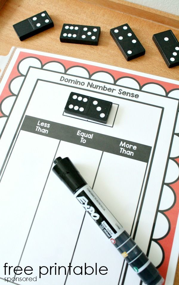 Free Printable Domino Number Sense Math Activity-These make a great dry erase math center activity for preschool, kindergarten and first grade