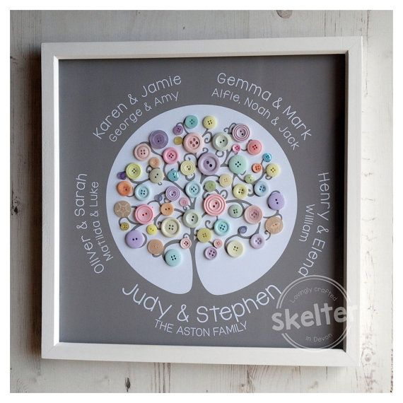 Button Family Tree  Handmade Personalised Button by SkelterDevon