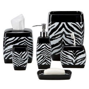 Zebras bath accessories and zebra print on pinterest for Zebra bathroom accessories