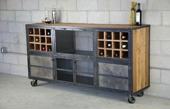 Distressed wood liquor cabinet