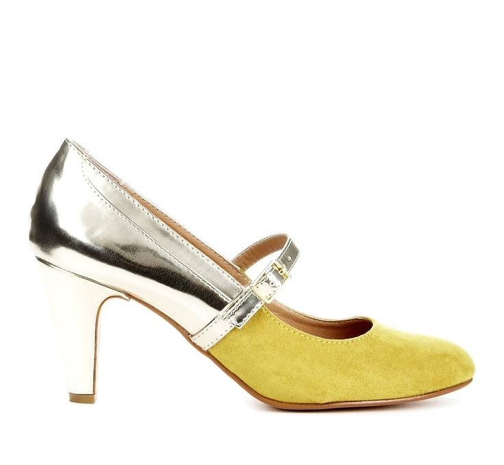 MARCIA  round toe heel. Can you say holiday party? Love the metallic metallic silver/mustard yellow combo. Would look great with a black or red dress. #style #fashion #shoes