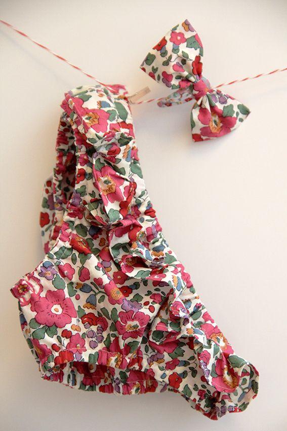 Bikini petite fille - liberty betsy - modèle #Papillon et Mandarine