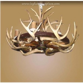 Wagon Wheel Chandeliers And Lighting | Light Wagon Wheel Antler Chandelier | deer buck antler chandelier