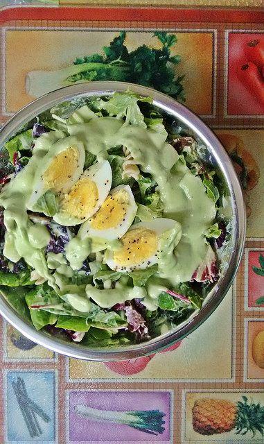 Organic Mixed Green Salad with Homemade Avocado Dressing