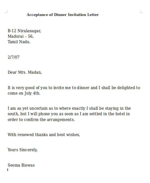 Best Formal Invitation Letter For Dinner Dinner Invitation