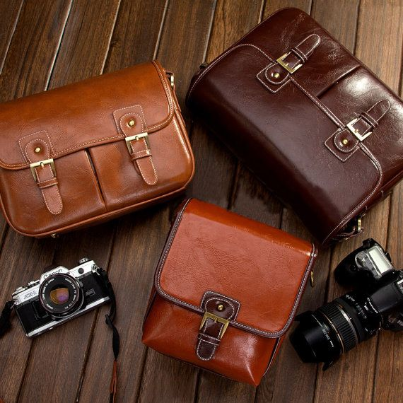 DSLR Camera Bag - Canon Camera Bag - Nikon Camera Bag - Vintage Look Brown Leather Shoulder Bag on Etsy, $29.99