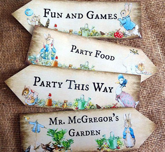 Satz von 4 personalisierte Beatrix Potter Peter Rabbit große Party Dekoration Pfeile