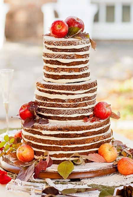 I love this rustic fall wedding cake! No icing around the edges is the latest trend. Click here for more fall wedding cake ideas! here ya go, a trend you ya ;)