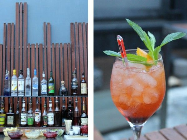Luxe bamboo bar and aperol spritzer