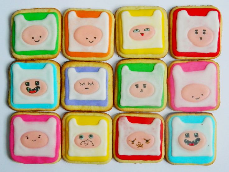 Adventure Time cookies - many expressions of Finn Forget me not Cookies
