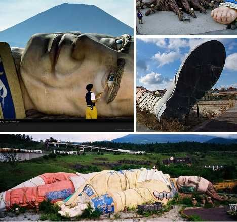 """Gulliver's Kingdom Theme Park, built in the shadow of Japan's Mount Fuji- empty since 1997. Potentially abandoned because it's near Aokigahara forest, or as some call it, """"suicide forest""""."""