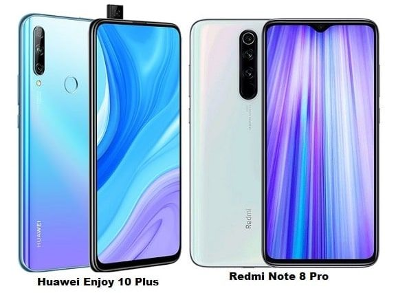 Huawei Enjoy 10 Plus Vs Xiaomi Redmi Note 8 Pro Specs Comparison Xiaomi Huawei Camera Sensor Size
