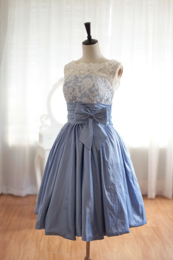 Custom Made Scalloped Blue Knee Length Prom Dress Simple Bridesmaid Dress Short Bridal Gown