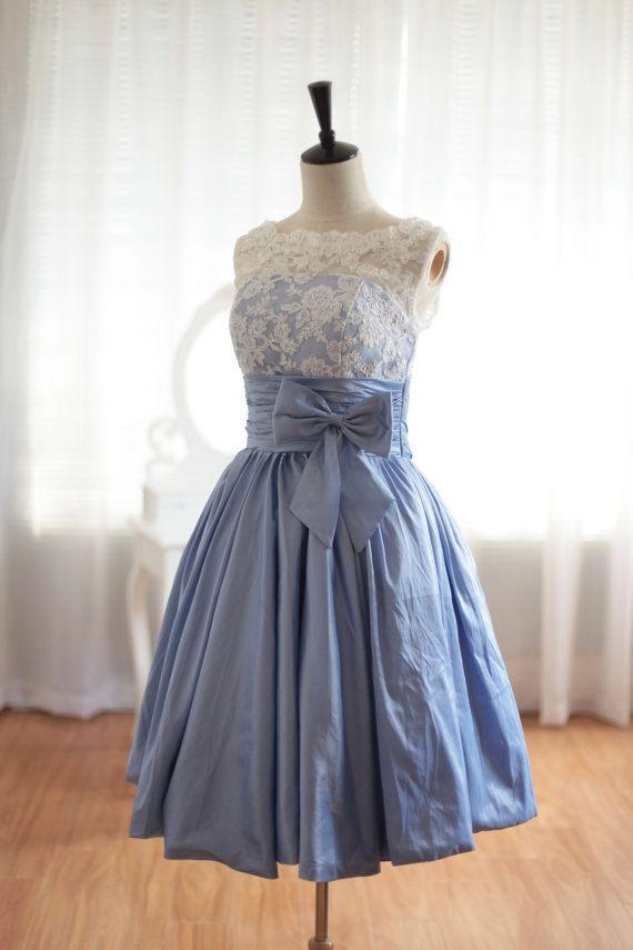 Custom Made Scalloped Blue Knee Length Prom Dress Simple Bridesmaid Dress Short Bridal Gown