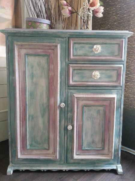 Vintage Kommode - shabby chic Schrank - used look Highboard
