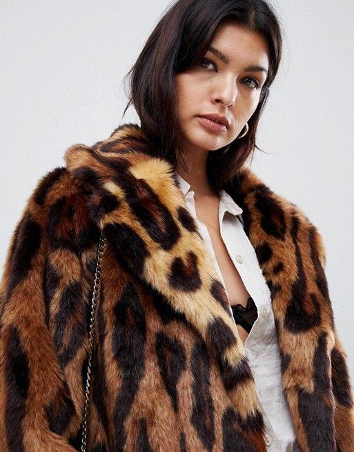 fb04da2f2667 DESIGN maxi leopard print longline faux fur coat | My Shopping Cart ...