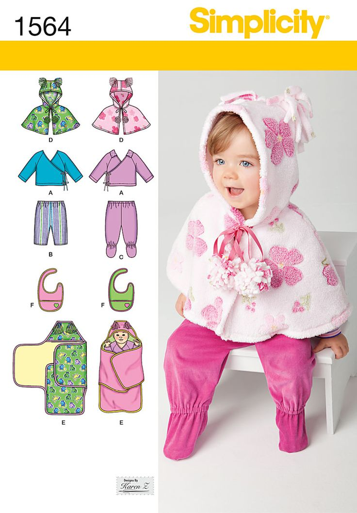 Simplicity Creative Group - Babies' Top, Pants, Bib, and Blanket Wrap