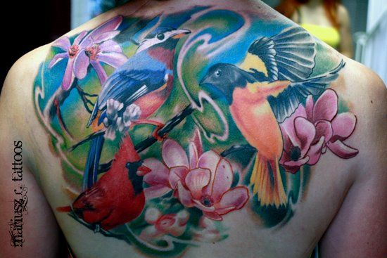 woman's back tattoo - birds&flowers @inkspiracy  www.facebook.com/inkspiracy.tattoo