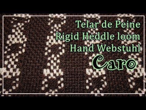 Telar de Peine Punto CARO Pattern Rigid Heddle Loom Hand Webstuhl Muster Lana Wolle - YouTube