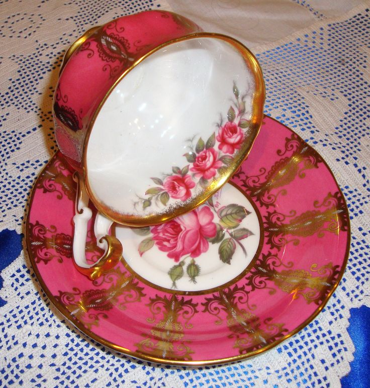 Hand Painted Paragon China ROSES AND GOLD Tea Cup And Saucer From The China Makers To Her Majesty The Queen by AsFarAsVintage on Etsy