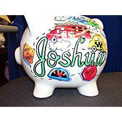 Handpainted Personalized Transportation Design Piggy Bank