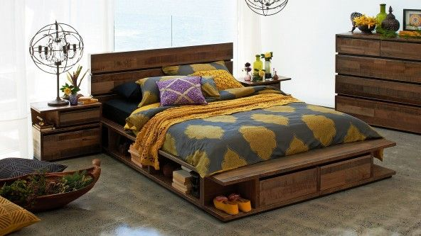 Random low bed from harvey norman love the rustic look and shelves around the bottom in this - Harvey norman bedroom sets ...